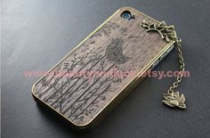 Bird Design Walnut Wood iPhone 4 iPhone 4S Case iphone 5 case- Wooden Etched iPhone Case,with branch ,owl charm pendant ,Carved iPhone Case on Etsy, $16.99