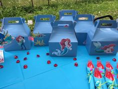 The Little Mermaid,Favors Gable Boxes,Birthday Decorations,Party Supplies,Baby Shower,Under the Sea,Favor containers,Mermaid Birthday,Girl by LoveToFiesta on Etsy