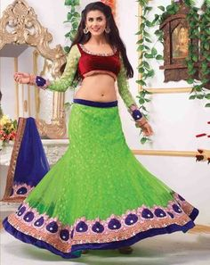 Ethnic Glam Lehenga greenblueholly9507D