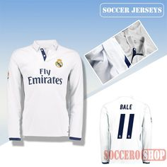 Latest Real Madrid White 2016 2017 Home Long Sleeve Soccer Jersey With Bale  11 Printing Replica dfe7d99d2