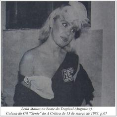"""Leila Mattos. Coluna do Gil """"Gente"""" do A Crítica de 13 de março de 1983."""