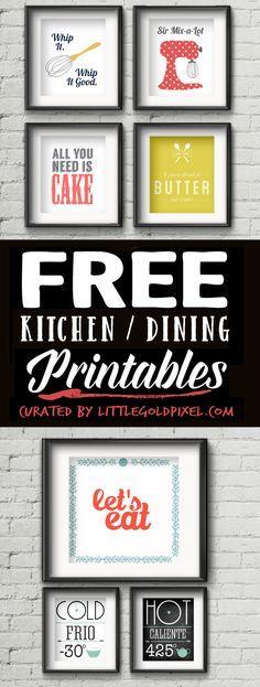 Free PrintablesKitchen Wall Art •Little Gold Pixel