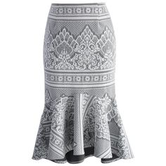 Chicwish Baroque Lace Grey Frill Hem Skirt (12.505 HUF) ❤ liked on Polyvore featuring skirts, chicwish, grey, bohemian style skirts, frilly skirt, lace ruffle skirt, flared skirt and ruffle skirt