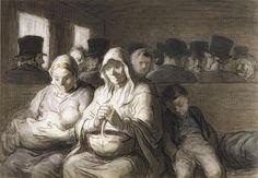 Daumier - Wagon de troisième classe, 1864, aquarelle par Honoré Daumier (1808-1879).