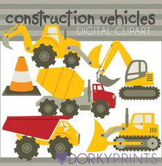 Construction Vehicles Digital Clip Art Set -Personal and Commercial- Bulldozer, Cement Truck, Construction, Dump Truck on Etsy, $3.50