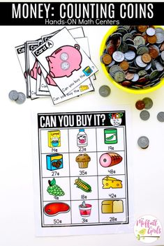 Grocery Shopping: Can You Buy It? Fun math center to teach Grade students how to count and shop for items. Centers First Grade, 1st Grade Math, Math Centers, Grade 2 Math Games, Money Math Games, Money Games For Kids, 1st Grade Crafts, Math Crafts, Teaching First Grade