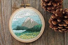 Serene Mountain Landscape Embroidery Hoop - Spring Field of Flowers - Wildflower - Colorado Rocky Mountains - 4 Inch Hoop
