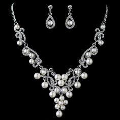 Rhodium White Pearl & Rhinestone Swirl Jewelry Set 4213