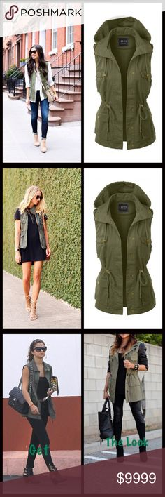 IN THIS WEEK‼️ Olive Cargo Vest Light olive cargo vest that looks great with just about anything. Throw on with a dress or go more casual with jeans. Either way you will look amazing! Four pockets in front with drawstring at waist. Hooded. Measurements upon request. Bundle and save 10%. Priced at $38. Jackets & Coats Vests