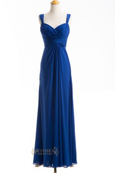 2015 A-line Royalblue Chiffon Floor Length #Bridesmaid #Dresses AM256 $119.00 http://www.wishesdresses.com/collections/bridesmaid-dresses/products/2015-a-line-royalblue-chiffon-floor-length-bridesmaid-dresses-am256