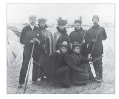 Standing left William D. Sloane; next to him is a daughter Lila Vanderbilt Sloane (Mrs. Wm. B. Osgood Field); and next to her Mrs. Wm D. Sloane (Emily Thorne Vanderbilt). Pictured at Muir Glacier 1897. Mrs. Sloane was Consuelo Vanderbilt's aunt.
