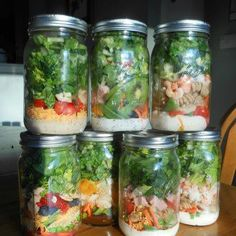 Aunty Inflammations Salad in a jar  If you pack a lunch for work try a Salad in a Jar for a quick, easy, and healthy meal.  ARRANGE from bottom to top:  - dressing  - shredded carrots  - cherry tomatoes  - sunflower seeds  - hard boiled eggs  - baby spinach  DIRECTIONS  1) Arrange ingredients in a large mason jar  2) Store in fridge  3) When ready to eat: shake jar, place on a plate, and eat!
