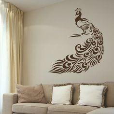 Peacock Big Tail Feathers Vinyl Wall Paper Decal Art wall sticker wall decal mural Home Decor Stencil Vinyl, Vinyl Decals, Wall Decals, Stencils, Mural Painting, Mural Art, Murals, Simple Wall Paintings, Wall Transfers