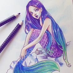 I finished my exam so I can finally join in with #mermay !!! Mermaids are my FAVE. #mermay2017 #mermaid #purple #ombre