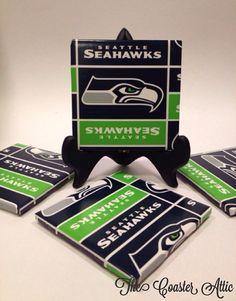 "Set of Four ""Seattle Seahawks"" Tile Coasters."
