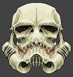 """The SkullTrooper"", Inspired by Star Wars: Stormtrooper on Behance. This would be awesome as a motorcycle helmet."