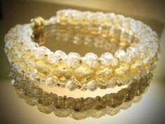 "Gold Champagne Bridal Bracelet with Gold & Crystal by BeyerBeads, $25.00    ""Love is not affectionate feeling, but a steady wish for the loved person's ultimate good as far as it can be obtained.""   ― C.S. Lewis"