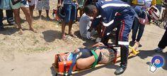 Acidente entre moto e veículo deixa dois feridos em Prado