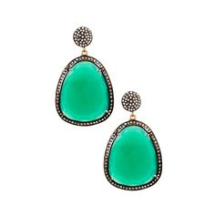 Vanhi Green Onyx Classic Earrings (387185001) ($149) ❤ liked on Polyvore featuring jewelry, earrings, green, green onyx earrings, green earrings, 14k earrings, post earrings and 14 karat gold earrings