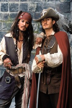 Johnny Depp Pirates of the Caribbean with Orlando Bloom
