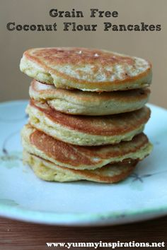 Grain Free Coconut Flour Pancakes - 4 Eggs (beaten), 3 T Coconut Flour, Coconut Oil (for frying)
