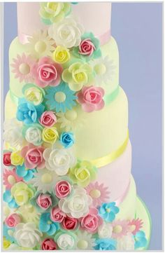 Beautiful pastal floral 5-tier wedding cake