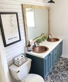 Diy Bathroom Remodel, Bathroom Renos, Bathroom Sink Decor, Half Bath Remodel, Bathroom With Tile Walls, Downstairs Bathroom, Pool House Bathroom, Bathroom Remodeling, Decoration For Bathroom