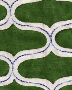 Juhu in Panna Green from Seema Krish #fabric #linen #cotton #green #blue