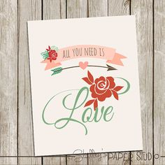 Valentine's Art Decor 8x10  All you need is Love by shelleyspaperstudio, $3.00