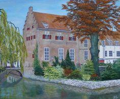 schilderij 60 x 50 cm olieverf op doek Tinnenburg, Muurhuizen Amersfoort www.adtolboom