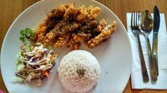 Lunch set - Chrispy chicken with mushroom sauce