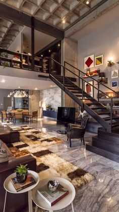 Beautiful modern design elements in this loft. Love the open space lofts provide. Loft Design, Deco Design, Design Design, Studio Design, Modern House Design, Urban Design, Design Miami, Library Design, My Dream Home