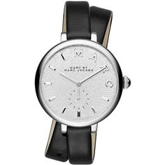 Marc By Marc Jacobs Sally Stainless Steel Black Leather Two-Piece... ($225) ❤ liked on Polyvore featuring jewelry, watches, marc by marc jacobs, leather strap watches, leather-strap watches, leather jewelry and water resistant watches