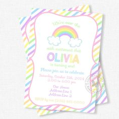 Welcome to Confetti Fete! Invite friends and family to celebrate with this pastel rainbow birthday invitation. Designed with a soft pastel color