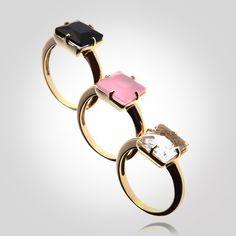 Conjunto três aneis em prata 925 e banho de ouro com quartzo rosa, quartzo transparente e ônix (Produto 1171)