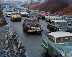 New York City traffic, 1956.
