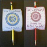 LDS Relief Society Birthday Pencil Cards -
