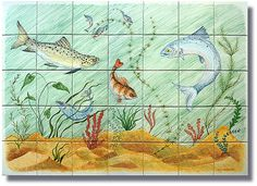 Hand-painted underwater tile panel