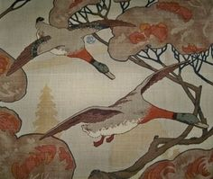 LEE JOFA MULBERRY FLYING DUCKS LINEN MULTIPURPOSE PRINT FABRIC STONE BROWN