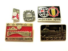 Set of 5 Rare Soviet vintage badges City pins Moscow pins Metal pins Made in USSR era 1970's Russian Soviet Era Collectables