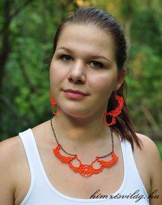 Hímzett tulipán ékszer szett, narancssárga színben Crochet Necklace, Jewelry, Fashion, Crochet Collar, Jewellery Making, Moda, Jewerly, Jewelery, Fashion Styles