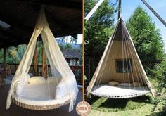 Build a hanging bed for the garden with an old trampoline. More ideas - DIY Garten Ideen Garden Trampoline, Trampoline Ideas, Trampolines, Hanging Beds, Outdoor Hanging Bed, Outdoor Living, Outdoor Decor, Container Gardening, Outdoor Gardens