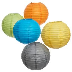 """Paper Lanterns in a wide rainbow of colors: Small (10"""" diameter) -- $1.95  Large (14"""" diameter) -- $2.50"""