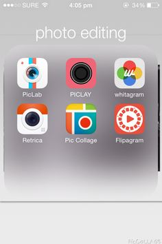 This is all my editing apps for my iPhone! There is PicLab, PicLay, Whitagram, Retrica, PicCollage, and Flipagram.