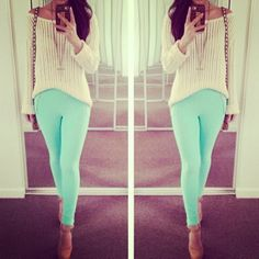 ♥♥ mint pants summer look spring outfits Teen fashion Cute Dress! Clothes Casual Outift for • teens • movies • girls • women •. summer • fall • spring • winter • outfit ideas • dates • school • parties mint cute sexy ethnic skirt 2014toms.us