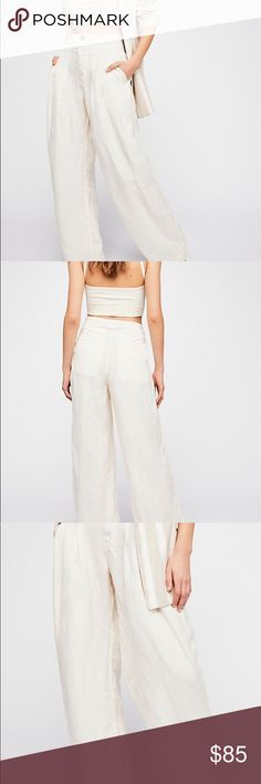 NWT Free People Linen Trouser Pants Sz 12 Be Free People Cream Color Trouser Pants  Straight silhouette with pleated details at the waist  2 front pockets  2 faux rare pockets Sz 12 Free People Pants