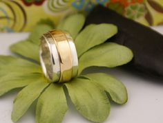 Men's Wedding Band Sterling Silver and Gold - personalize