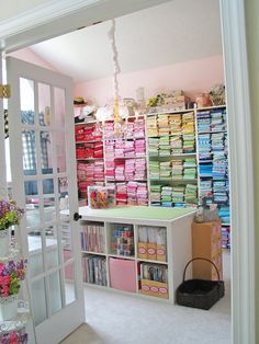 Sewing room, fabric storage and craft room inspiration Sewing Room Storage, Sewing Room Organization, My Sewing Room, Craft Room Storage, Fabric Storage, Sewing Rooms, Craft Rooms, Storage Ideas, Organization Ideas