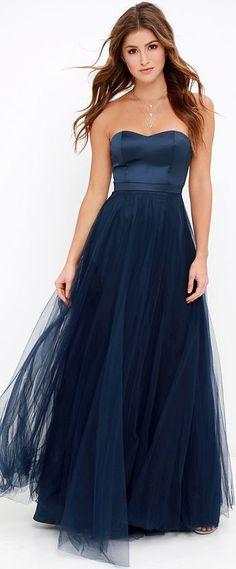 Dance of Dalliance Navy Blue Maxi Dress ==