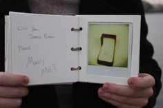 My fiancé put together a handmade book of polaroid pictures to ask me to marry him. The pictures, minus the last one, were taken over a six month time period. He had bought me a SX70 a year before, and when it broke he was very adamant on getting me a new one. And now I know why!